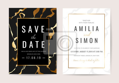 Plakat Zaproszenia ślubne z czarnym marmurem tekstury i złota linia wektor