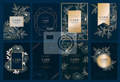 Plakat Zaproszenie na ślub nowoczesny projekt karty w złotej piwonii z tropikalnych liści palmowych gałęzi eukaliptusa dekoracyjne na głębokim tle granatowym Wektor elegancki szablon rustykalny