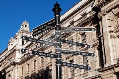 Plakat Zarejestruj się kierunkach atrakcji Londynu