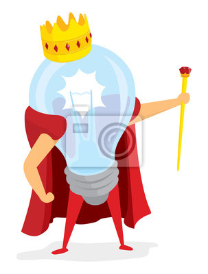 f5493652c314cd Plakat Żarówka lub pomysł król trzyma berło na wymiar • ilustracja ...