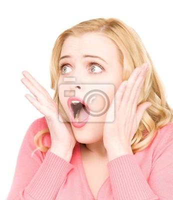 Plakat zaskoczony twarz kobiety