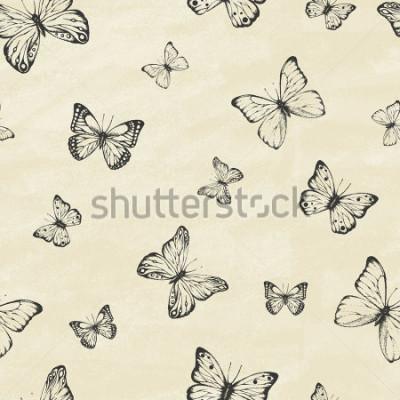 Plakat Zbiór ręcznie używanych motyle. Entomologiczny zbiór motyli o dużej szczegółowości. Vintage w stylu retro. Obejmuje wzór. Ilustracji wektorowych.