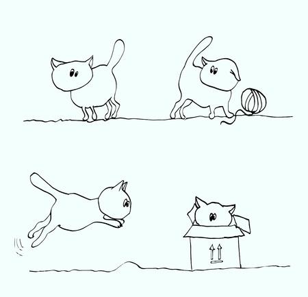 Zbiór zabawnych kotów kreskówka, ilustracje wektorowe