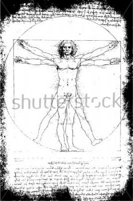 Plakat Zdjęcie człowieka witruwiańskiego Leonarda da Vinci z 1492 roku na teksturowanym tle.