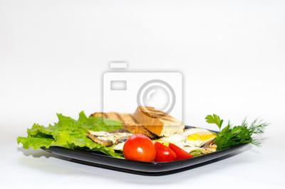 Zdrowe Jedzenie Sniadanie Jajecznica Z Kurczaka Smazone Champi Plakaty Redro