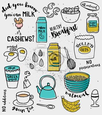 Zdrowe Sniadanie Doodle Ilustracja Skladnikow Zdrowego Sniadania Plakaty Redro