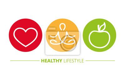 Plakat zdrowego stylu życia ikony kierowa joga i jabłko wektorowa ilustracja EPS10