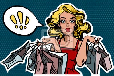 Plakat Zdziwiona kobieta z torby na zakupy w stylu pop. Dymka na tekst. Ilustracja wektora samodzielnie na niebieskim tle przerywana.