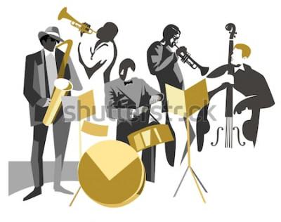 Plakat Zespół jazzowy na tle odizolowane