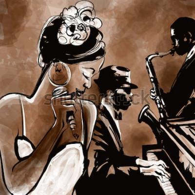 Plakat Zespół jazzowy z piosenkarzem, saksofonem i fortepianem - ilustracji wektorowych