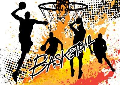 Plakat Zespół koszykarz na białym tle grunge