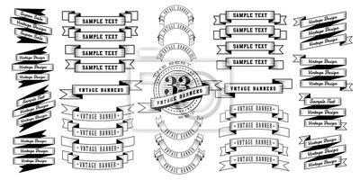 Plakat Zestaw 33 wstążki rocznika banerów. Retro banery na białym tle. Ilustracji wektorowych.