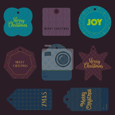 Zestaw 9 znaczników prezentów w stylu art deco