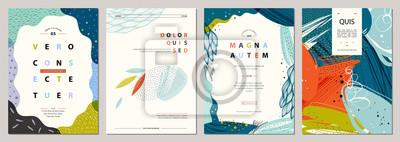 Plakat Zestaw abstrakcyjnych kreatywnych uniwersalnych szablonów artystycznych. Dobry na plakat, kartę, zaproszenie, ulotkę, okładkę, baner, afisz, broszurę i inne projekty graficzne.