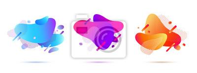 Plakat Zestaw abstrakcyjnych kształtów gradientu. Obejmuje szablon projektu w nowoczesnym stylu Memphis. Kształty geometryczne i kropki do prezentacji, czasopism, ulotek, szablonów mediów społecznościowych.
