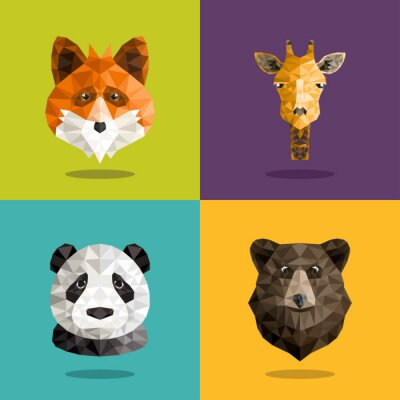 Plakat Zestaw Animal Origami Portret