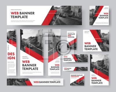 Plakat zestaw banerów internetowych o różnych rozmiarach z ukośnymi czerwonymi elementami i miejscem na zdjęcia.