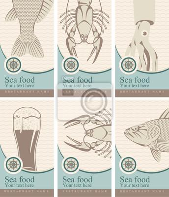 Plakat zestaw banerów z piwem i owoców morza
