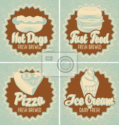 Plakat zestaw banerów z szybkim pizzy żywności i lodów