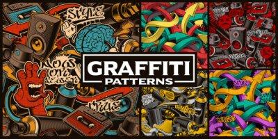 Plakat Zestaw bez szwu wzorów z graffiti sztuki