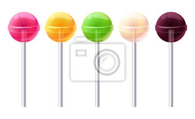 Plakat Zestaw błyszczący okrągłe kolorowe lizaki.