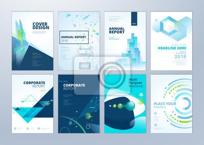 Plakat Zestaw broszur, raport roczny, szablony projektów ulotek w formacie A4. Ilustracje wektorowe do prezentacji biznesowych, papier firmowy, okładka dokumentów korporacyjnych i wzory szablonów układu.
