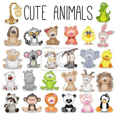 Plakat Zestaw cute zwierząt