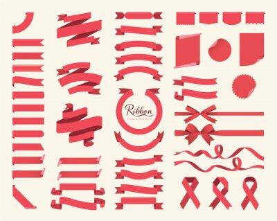 Plakat Zestaw czerwone wstążki, kokardy, banery, flagi. Wektor wstążka serii.
