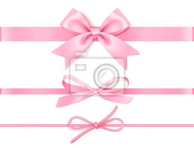 Plakat Zestaw dekoracyjny różowy łuk z poziomą różową wstążką do wystroju prezent. Ilustracja wektorowa na białym tle
