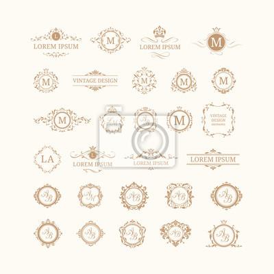 Plakat Zestaw eleganckich kwiatów monogramami i granic