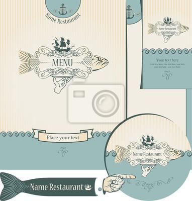 Plakat zestaw elementów do projektowania restauracji rybnych