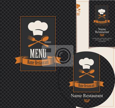 Plakat Zestaw elementów projektu dla kawiarni lub restauracji z menu, wizytówek i podstawek do napojów