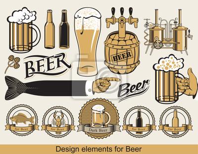 Plakat zestaw elementów projektu dla piwa