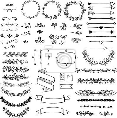 Plakat Zestaw elementów projektu doodle