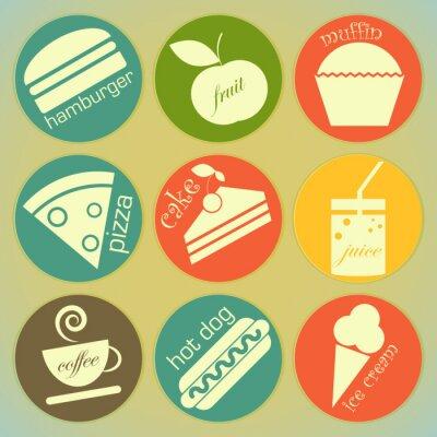 Plakat zestaw etykiet retro rundy żywności