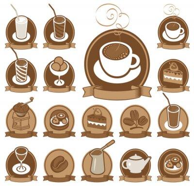 Plakat zestaw ikon dla kawiarni