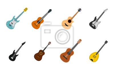 Plakat Zestaw ikon gitara, płaski