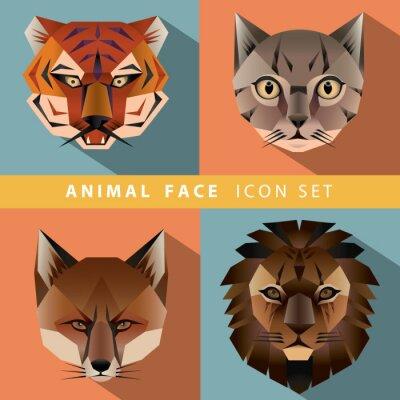 Plakat Zestaw ikon twarzy zwierząt
