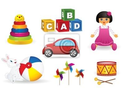 Plakat zestaw ikon wektorowych zabawek dla dzieci