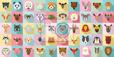 Plakat Zestaw ikon zwierząt. Płaski zestaw zwierząt wektorowe ikony do projektowania stron internetowych