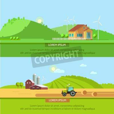 Zestaw ilustracji ecotourism, płaskim stylu. Krajobrazy wiejskie z polami i wzgórzami. Ciągnik w polu zbierania. Koncepcja podróży ekologicznej