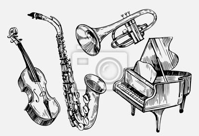Plakat Zestaw instrumentów muzycznych: skrzypce, fortepian, saksofon. Ręcznie rysowane szkic przekonwertowany do wektora