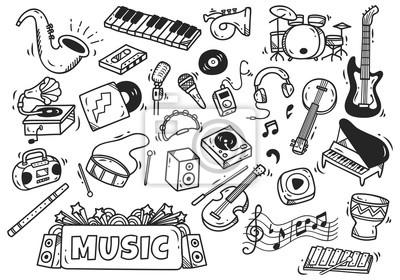 Plakat Zestaw instrumentów muzycznych w stylu doodle