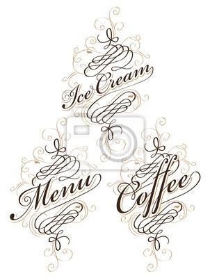 Plakat zestaw kaligrafii napisami na temat żywności i napojów