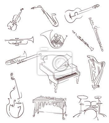 Plakat Zestaw klasycznych instrumentów muzycznych wykonanych w Streszczenie ręcznie rysowane stylu. Wektor
