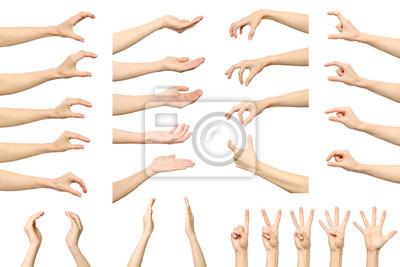 Plakat Zestaw kobiety ręcznie pomiaru niewidoczne rzeczy