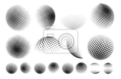 Plakat Zestaw kuli streszczenie kropkowane kulki, efekt kropki 3d. Kształt ziemi. Może być używany jako logo, ikona. Ilustracji wektorowych. Pojedynczo na białym tle