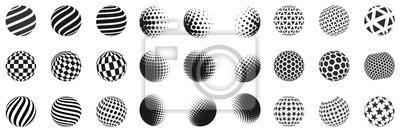 Plakat Zestaw minimalistycznych kształtów. Halftone czarne kolor sfery odizolowywać na białym tle. Stylowe emblematy. Wektor kulki z kropkami, paski, trójkąty, sześciokąty do projektów internetowych. Prosta