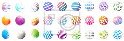 Plakat Zestaw minimalistycznych kształtów. Halftone jaskrawe kolor sfery odizolowywać na białym tle. Stylowe emblematy. Wektor kulki z kropkami, paski, trójkąty, sześciokąty do projektów internetowych. Prost