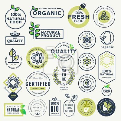Plakat Zestaw naklejek i etykiet dla żywności ekologicznej i napojów oraz produktów naturalnych. Ilustracji wektorowych pojęcia dotyczące projektowania stron internetowych, projektowania opakowań, materiałów